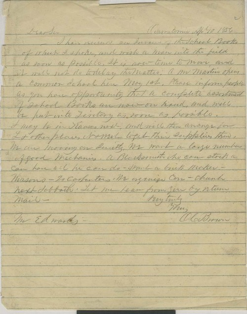 Orville Chester Brown to Mr. Edwards - Page
