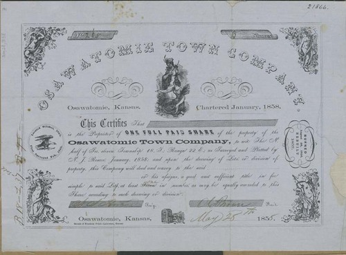 Osawatomie Town Company, Share Certificate - Page