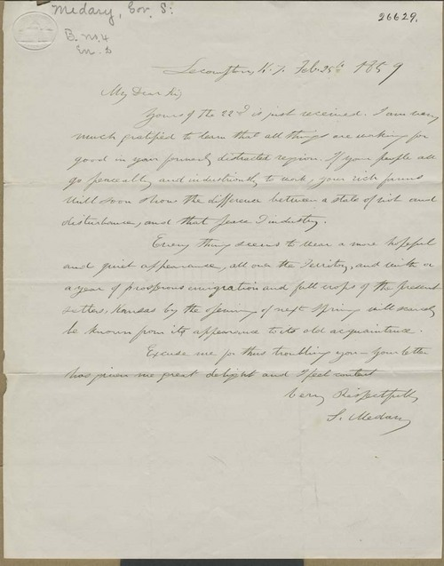 Samuel Medary to Orville Chester Brown (?) - Page