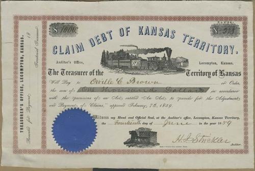 Certificate, Claim Debt of Kansas Territory - Page