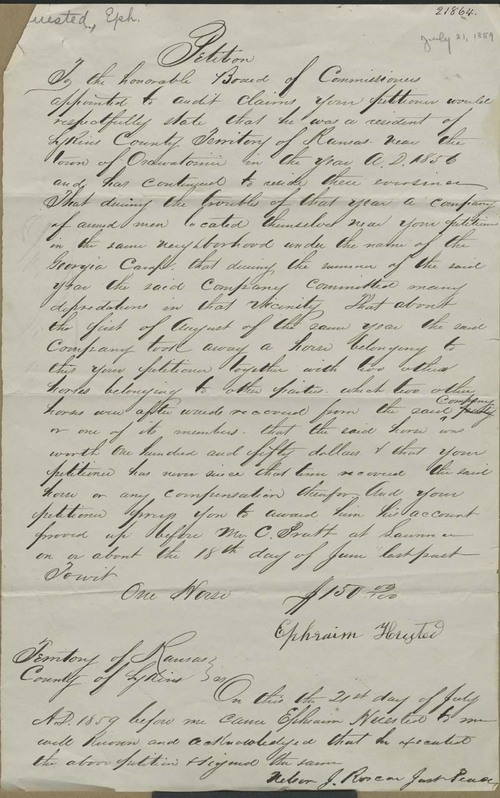 Ephraim Huested, petition for payment of claim - Page