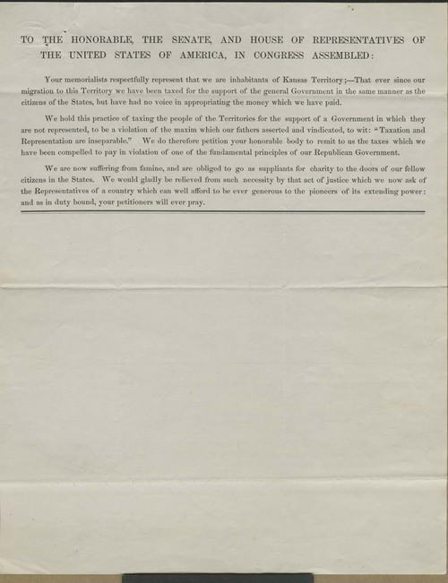 Kansas Territory citizens to the Senate and House of Representatives of the United States of America - Page
