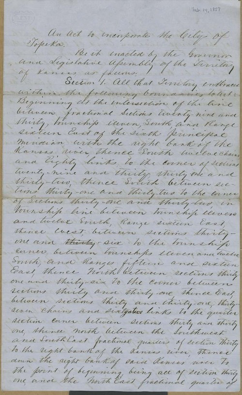 Topeka, Kansas Territory, act to incorporate - Page