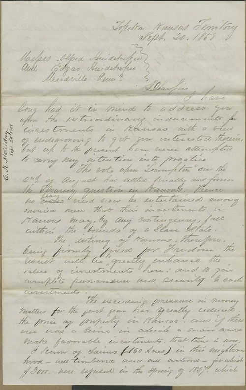 Cyrus Kurtz Holliday to Alfred and Edgar Huidekoper - Page