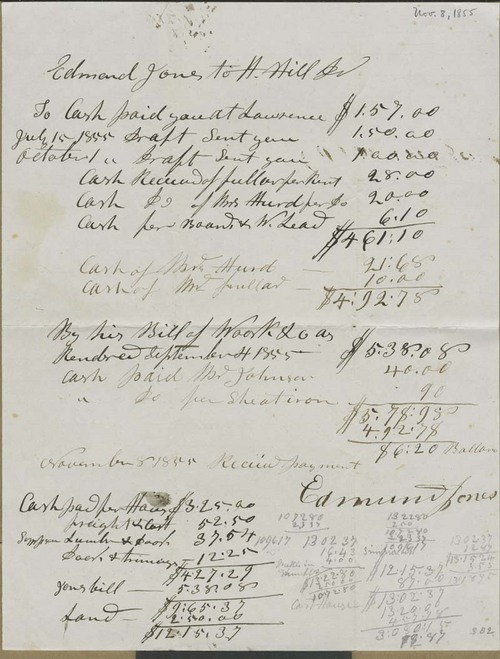 Edmund Jones to Hiram Hill, Jr., expense sheet - Page