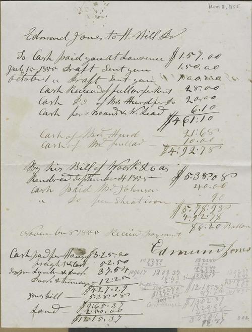Edmund Jones to Hiram Hill, Jr., expense sheet - Page