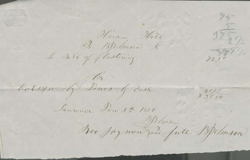 Hiram Hill to B. Johnson, bill of plastering - Page