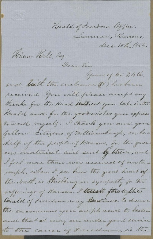 George Washington Brown to Hiram Hill - Page