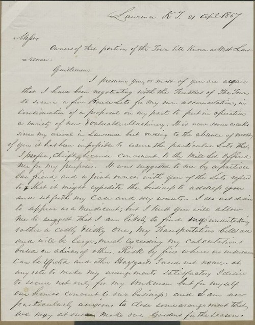 Nathan Starks to Messrs. [Owners of the West Lawrence Town Site] - Page