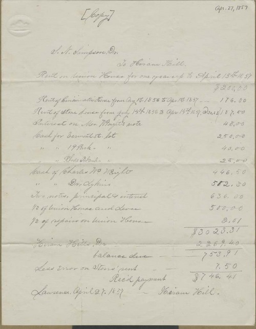 Samuel Newell Simpson to Hiram Hill, report of accounts received - Page