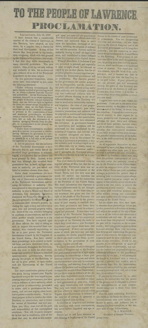 Robert John Walker, Proclamation : To the people of Lawrence - Page