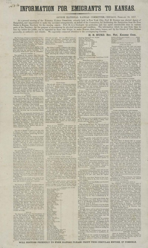 National Kansas Committee, Information for emigrants to Kansas - Page