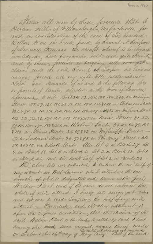 Hiram Hill quit claim deed to Samuel N. Simpson - Page