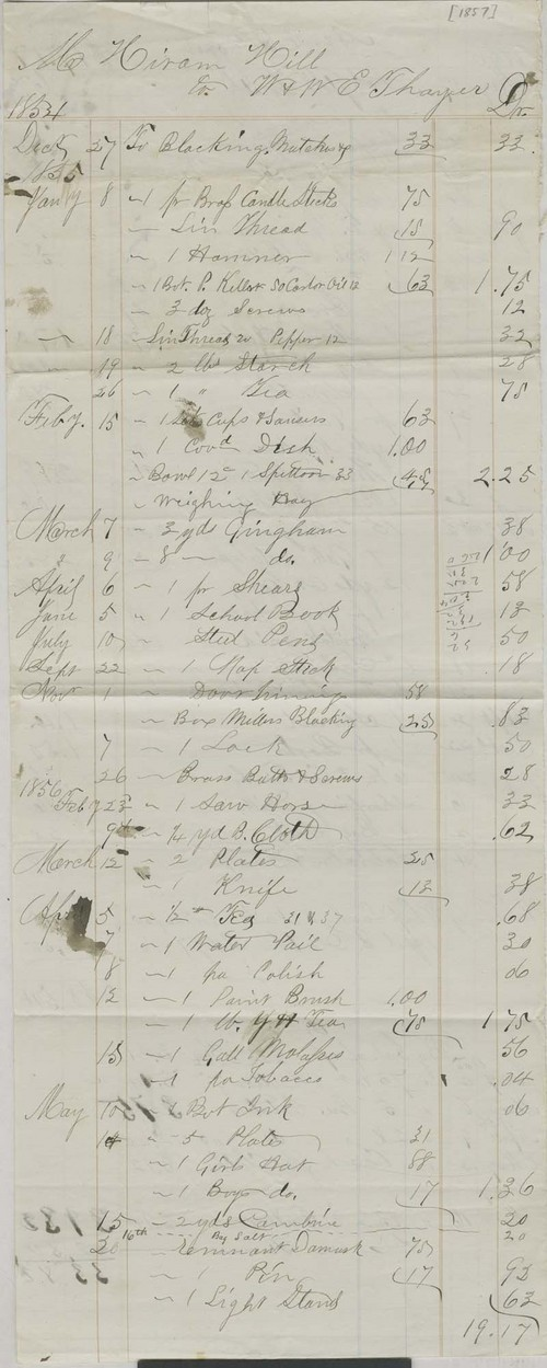 Hiram Hill to W. & W.E. Thayer, expense list - Page