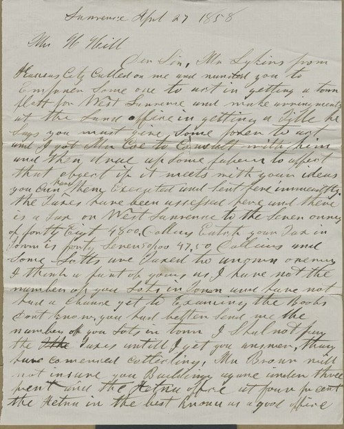 unknown writer to Hiram Hill - Page