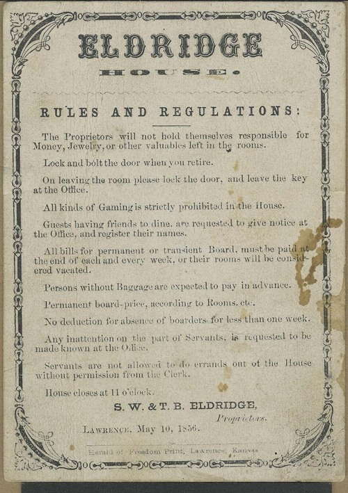 Eldridge House rules and regulations - Page