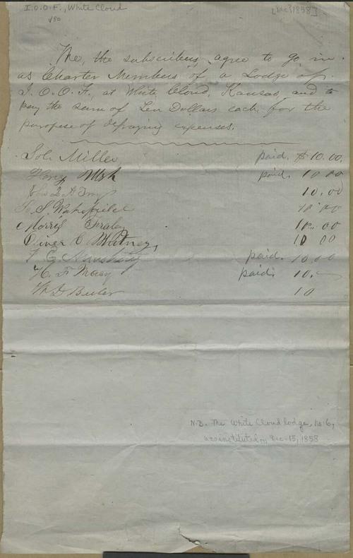 Oddfellows Lodge of White Cloud, Kansas Territory - Page