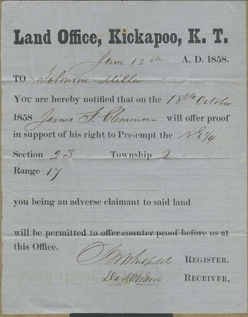 Land Office, Kickapoo, Kansas Territory, notice - Page