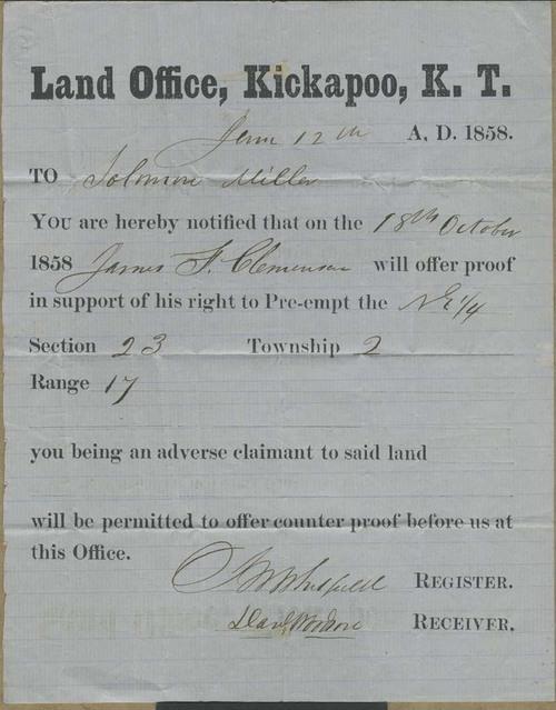 Land Office, Kickapoo, Kansas Territory, notice - Page