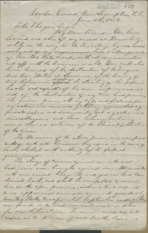 George Washington Brown to Eli Thayer - Page