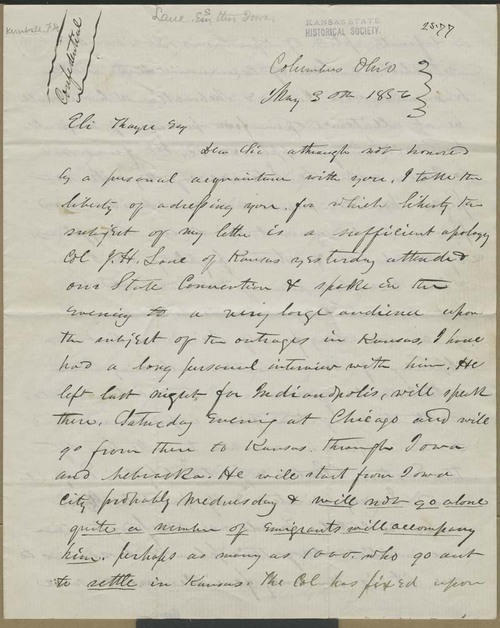 F.D. Kimball to Eli Thayer - Page