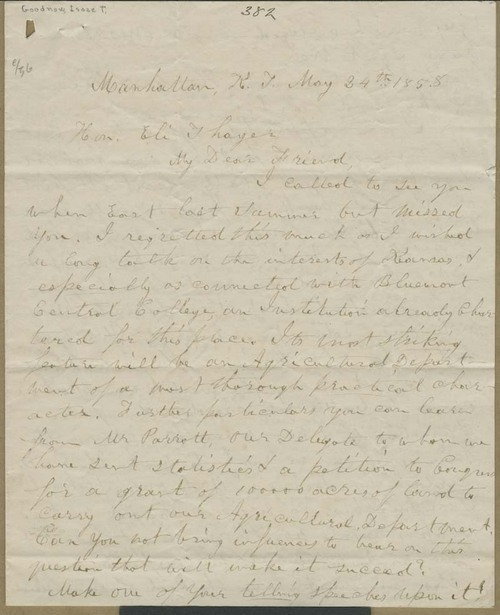 Isaac Tichenor Goodnow to Eli Thayer - Page