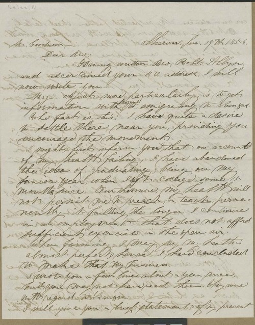 N. P. Selee to Isaac Tichenor Goodnow - Page
