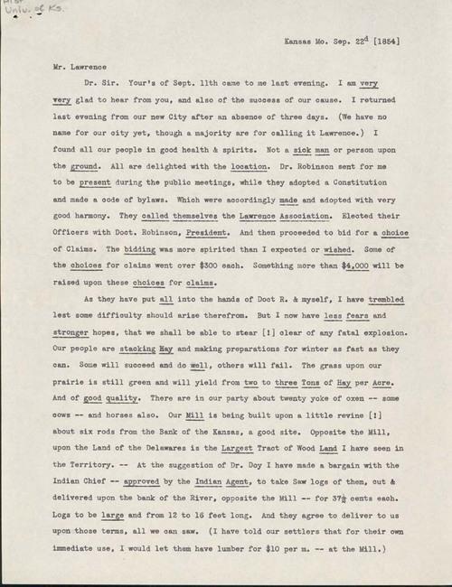 Samuel Clarke Pomeroy to Amos Adams Lawrence - Page