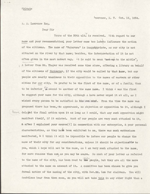 Charles Robinson to Amos Adams Lawrence - Page
