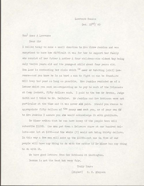 Samuel. Newell Simpson to Amos Adams  Lawrence - Page