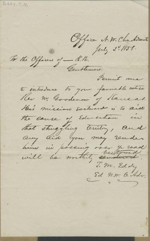 T. M. Eddy to the Officers of _____ R.R. - Page