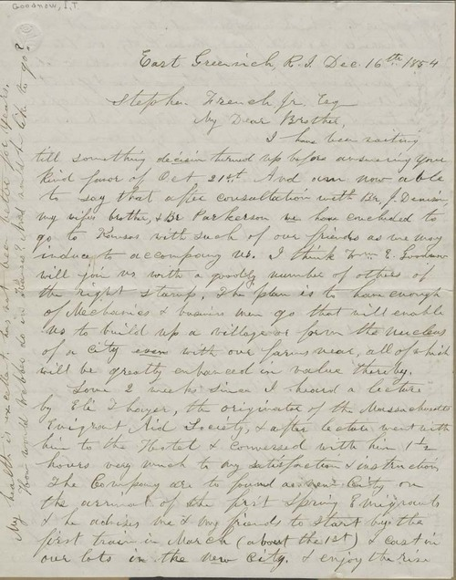 Isaac Tichenor Goodnow to Stephen French, Jr.