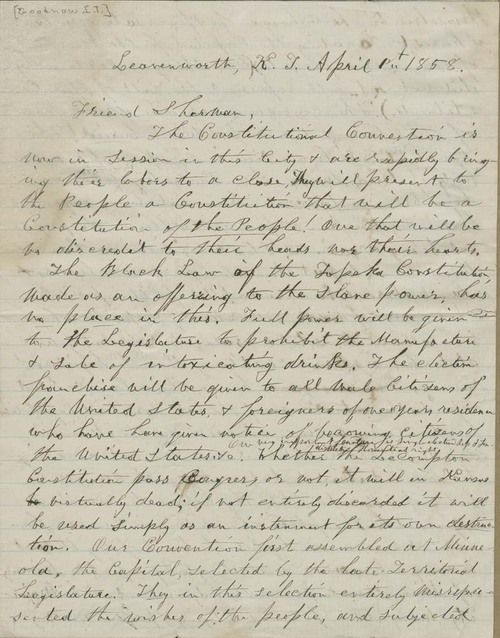 Isaac Tichenor Goodnow to Sherman - Page