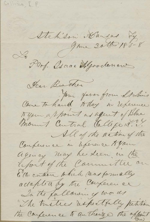 I. F. Collins to Isaac Tichenor Goodnow - Page