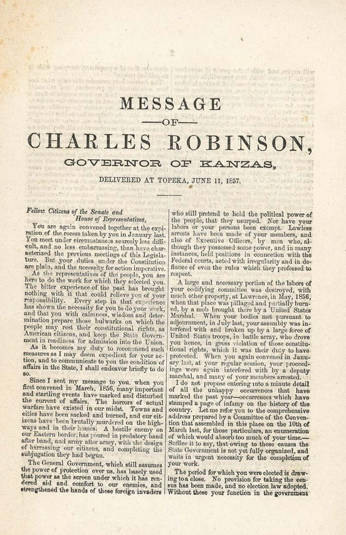 Message of Charles Robinson, Governor of Kanzas, Delivered at Topeka, June 11, 1857 - Page