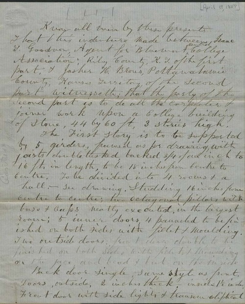 Isaac Tichenor Goodnow and Jasher H. Brous, contract for construction of building at Bluemont Central College - Page
