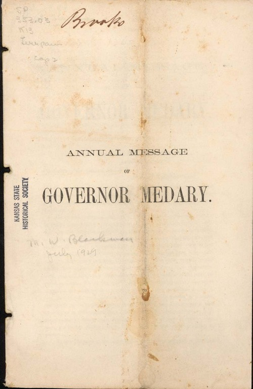 Governor Samuel Medary, annual message - Page