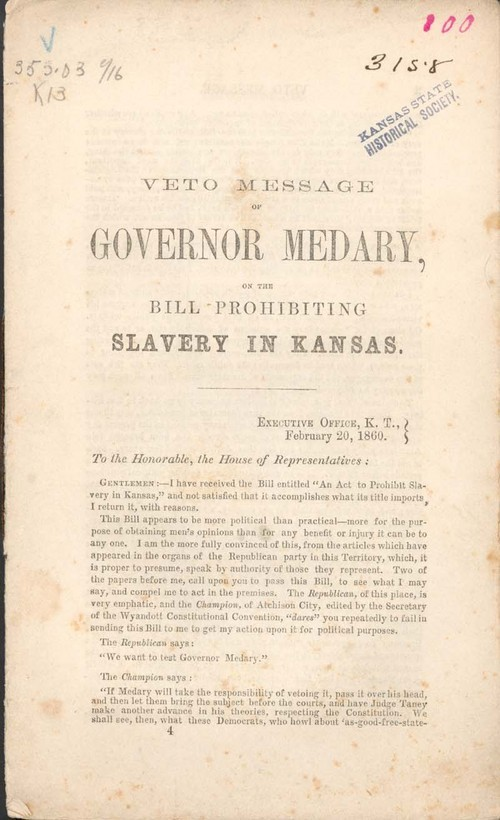 Governor Samuel Medary, veto message on the bill prohibiting slavery in Kansas. - Page