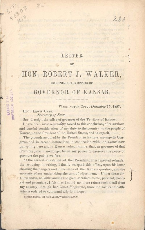 Robert John Walker, letter resigning the Office of Governor of Kansas - Page
