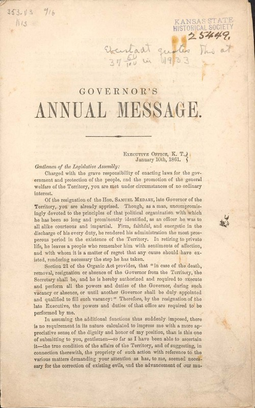 Governor George Monroe Beebe, annual message - Page