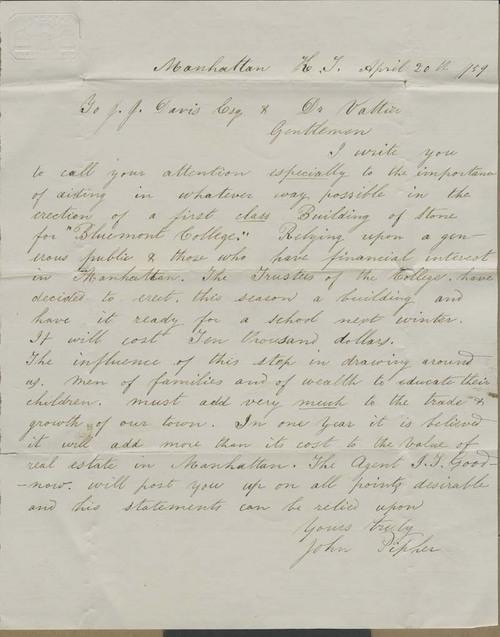 John Pipher to J. J. Davis & Dr. Valtier - Page