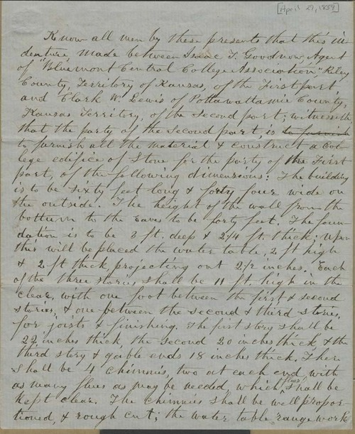 Isaac Tichenor Goodnow and Clark W. Lewis, contract for construction of  building at Bluemont Central College - Page