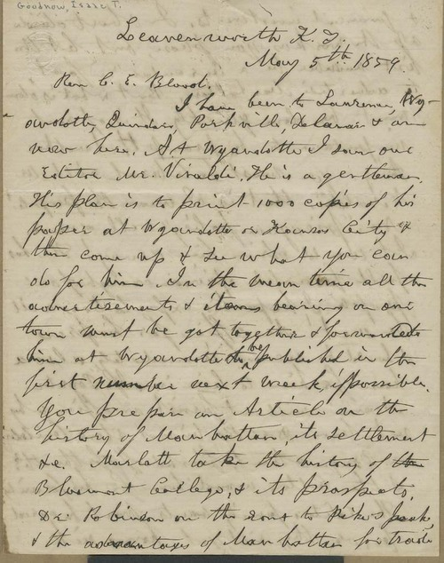 Isaac T. Goodnow to Rev. C. E. Blood - Page