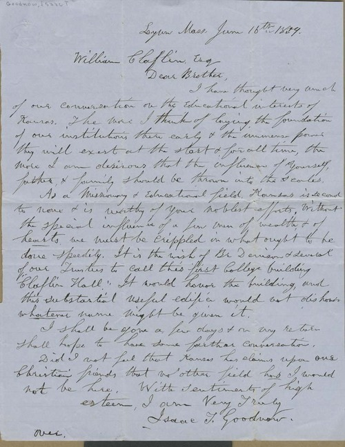 Isaac Tichenor Goodnow to William Claflin - Page
