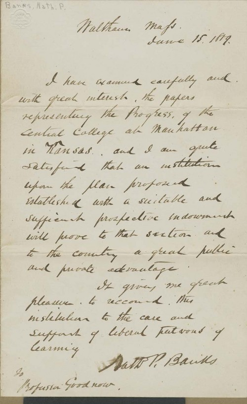 Nathaniel Prentiss Banks, letter of endorsement - Page
