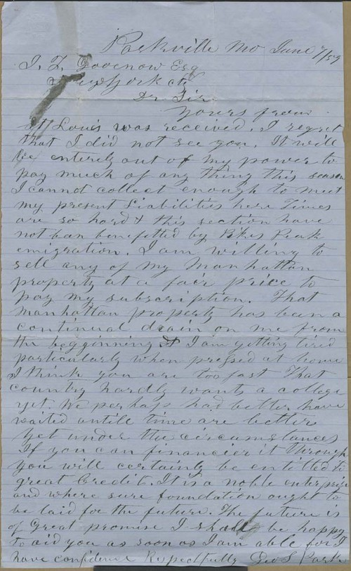 George S. Park to Isaac Tichenor Goodnow - Page