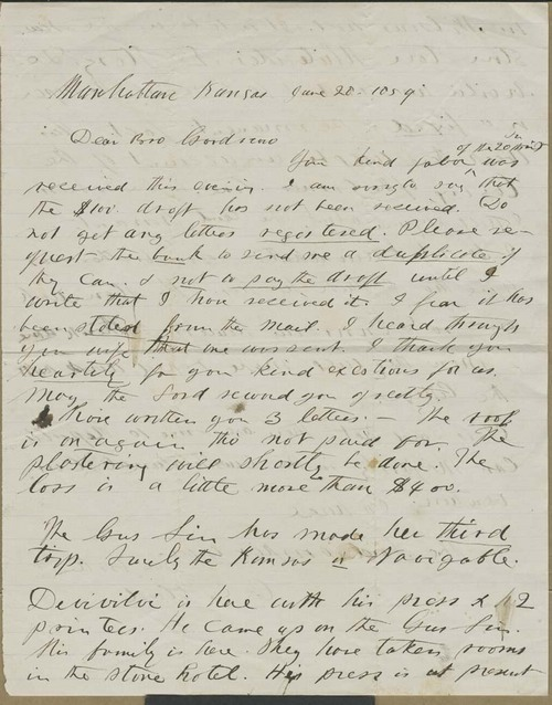 C. E. Blood to Isaac Tichenor Goodnow - Page