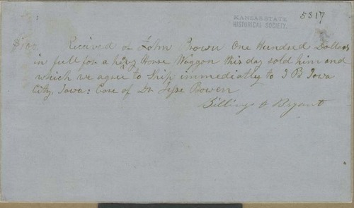Billings & Bryant to John Brown, bill of sale for horse wagon