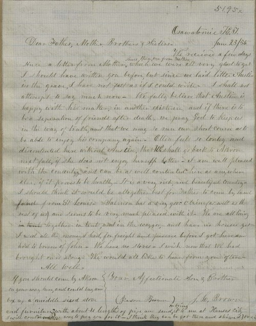 Jason L. Brown  to John Brown, Mary Brown, and family - Page