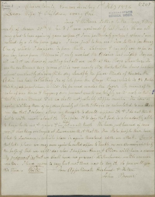 John Brown to Mary Brown and family - Page